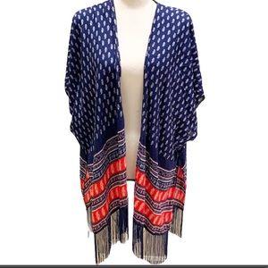 Red, White, & Blue Fringed Open Kimono One Size